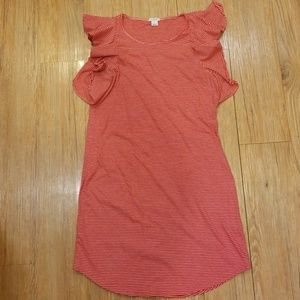 J. Crew Ruffle Sleeve Cotton Striped Dress Size S
